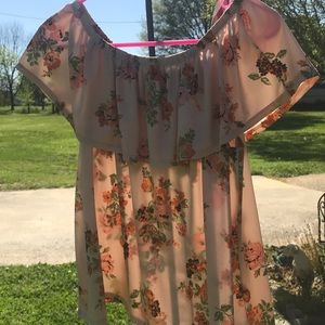 Flowery off the shoulder shirt